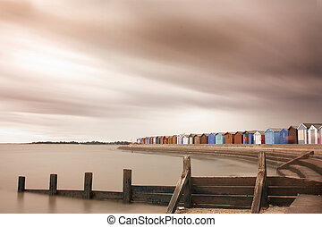 storm over brightlingsea beach in essex - Shot at...