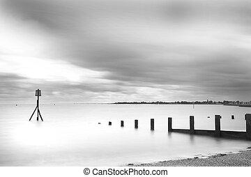 brightlinsea black and white sea lansdscape shot -...