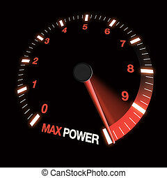 max power speed dial showing needle at fastest speed