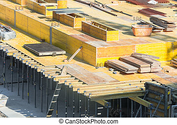 Formwork for foundations with concrete - Construction here...
