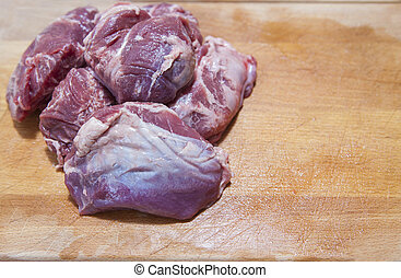 meat cheek pieces of iberian pig - Raw meat cheek pieces of...
