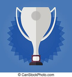 Winner silver cup on blue stars background