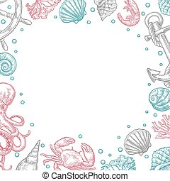 Template for greeting card and poster. Sea shell, crab,...