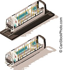 Vector isometric subway train cross-section - Vector...