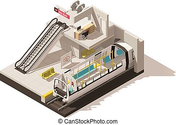 Vector isometric low poly subway station cutaway - Vector...