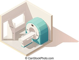 Vector isometric low poly MRI room icon - Vector isometric...
