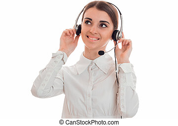 cheerful young call center office girl with headphones and...