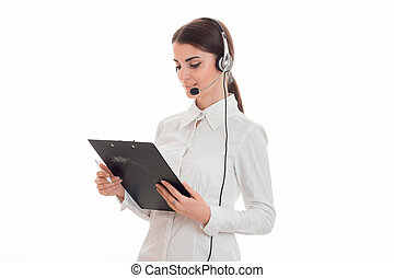 sexy young call center office girl with headphones and...