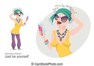 Old woman in bright stylish clothes makes selfie