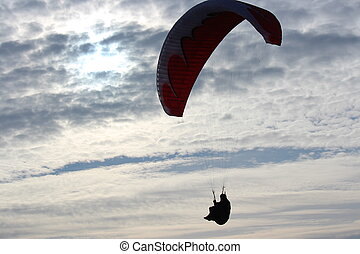 Man Hang Glides On Offshore Air Currents, Yorkshire,...