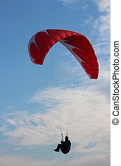 Man Hang Glides On Offshore Air Currents, England. - Photo...