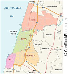 Administrative, roads and political map of the Israeli city...