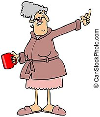 Old lady giving the finger - Illustration of an angry old...