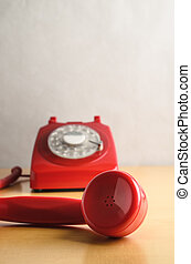 Retro Red Telephone with Off Hook Receiver - Eye level shot...