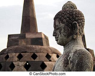 Buddha Statue at Borobudur in Indonesia