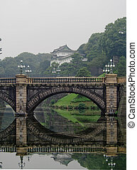 Stone Bridge Reflected in Water with Japanese Imperial...
