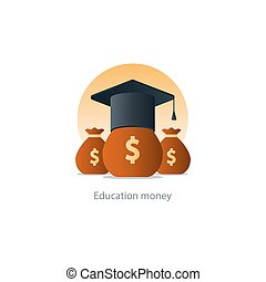 Scholarship grant money, education fee icon, payment cost -...