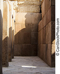 Hall of Ancient Ruins at Giza Egypt - A sandstone hall at...