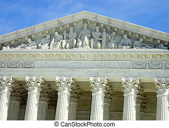 Inscription over the US Supreme Court Building in Washington...