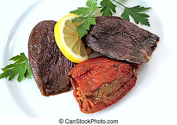 Turkish cuisine - DOLMA - rice stuffed sundried red pepper...