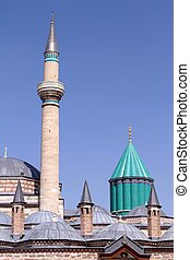 Mevlana mosque domes and minaret in Konya - Turkey close up...