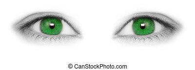 bonito, olhos, verde