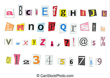 Newspaper letters, numbers and punctuation on white...