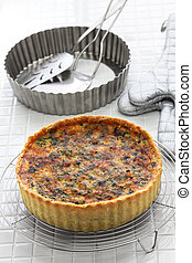 homemade spinach bacon quiche, florentine quiche, french...