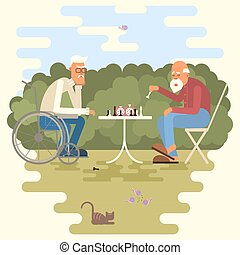 Cartoon of two chess players