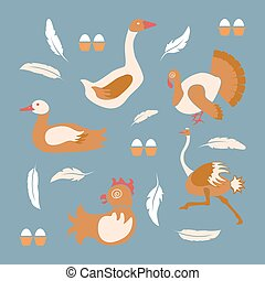 Poultry farm banner or flyer. Set of isolated birds icons in...