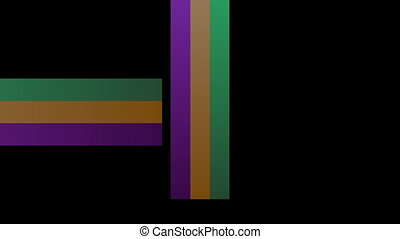 Colorful animated strips in green, orange and purple. Video...