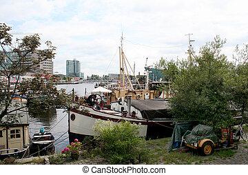 Oosterdok in Amsterdam - Netherlands, Amsterdam,june 2016:...
