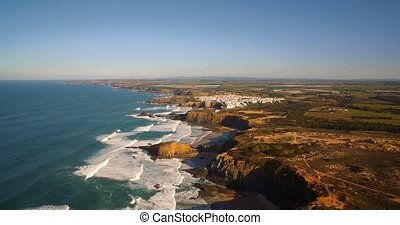 Aerial, Atlantic Coast Line, Portugal - Graded and...