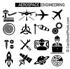 Set of aerospace engineering icon design for airplane and...