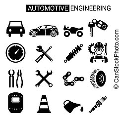Set of automotive engineering icon design for industry - Set...