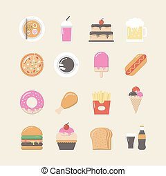 fast food icon set - set of fast food and junk food icon...