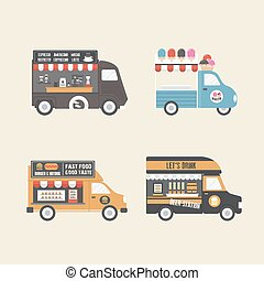 retro food truck, service in carnival festival