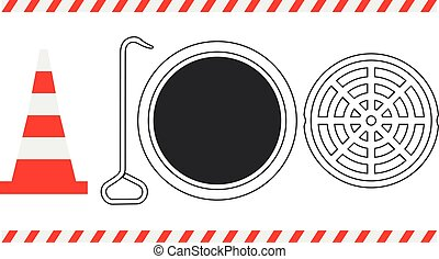 Traffic Reflector Cone, Hook, Open Manhole With It's Cover...