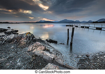Loch Eishort and Mountains on Skye. - Loch Eishort & Cuillin...