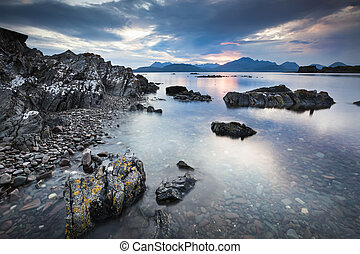Loch Eishort and Mountains on Skye. - Loch Eishort and...