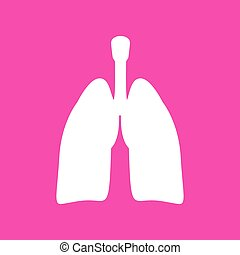 Human organs Lungs sign. White icon at magenta background.