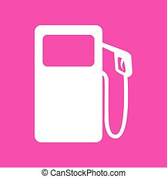 Gas pump sign. White icon at magenta background.