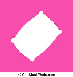 Pillow sign illustration. White icon at magenta background.