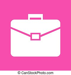 Briefcase sign illustration. White icon at magenta background.