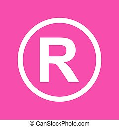 Registered Trademark sign. White icon at magenta background.