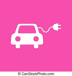 Eco electric car sign. White icon at magenta background.