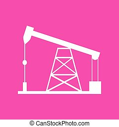 Oil drilling rig sign. White icon at magenta background.