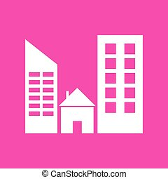 Real estate sign. White icon at magenta background.