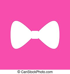 Bow Tie icon. White icon at magenta background.