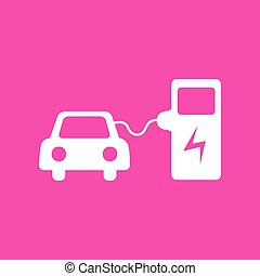 Electric car battery charging sign. White icon at magenta...